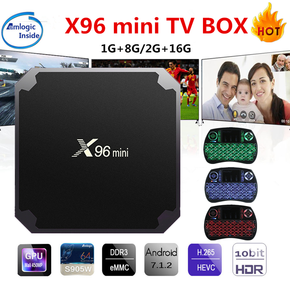 X96 mini Android TV Box KD Player 17,4 Amlogic S905W Quad Core 2 GB 16 GB UHD H.265 2,4G WiFi 4 Karat Media Player X96mini Set top Box