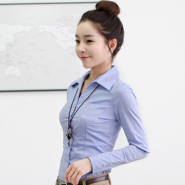 3dc466f9c00e 2015 Lady Spring Formal Shirts White   Blue Slim Fit Women Tops Size S-2XL  Office Lady Work Shirts Female Thin Simple Style Tops