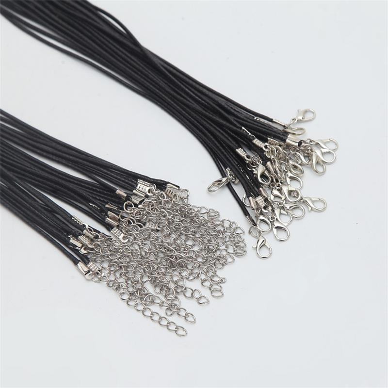New 3 Black Leather 2mm Cord Necklaces With Lobster Clasp Charm Jewelry