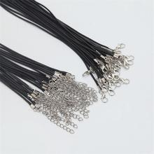Wholesale 2mm Handmade Leather  Cord  Rope Chain  Necklaces&Pendant Lobster Clasp String Cord DIY Jewelry Accessories 12pcs/lot