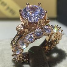 Drop Shipping wysokiej jakości klasyczna luksusowa biżuteria 925 srebro i różowe złoto wypełnić okrągły Cut 5A CZ pierścionek w kształcie korony ślubnej zestaw tanie tanio Moda Pierścionki SILVER Zaręczyny 10mm choucong Nastrój tracker Klasyczny Zestawy dla nowożeńców Korona DSFKFG Kobiety