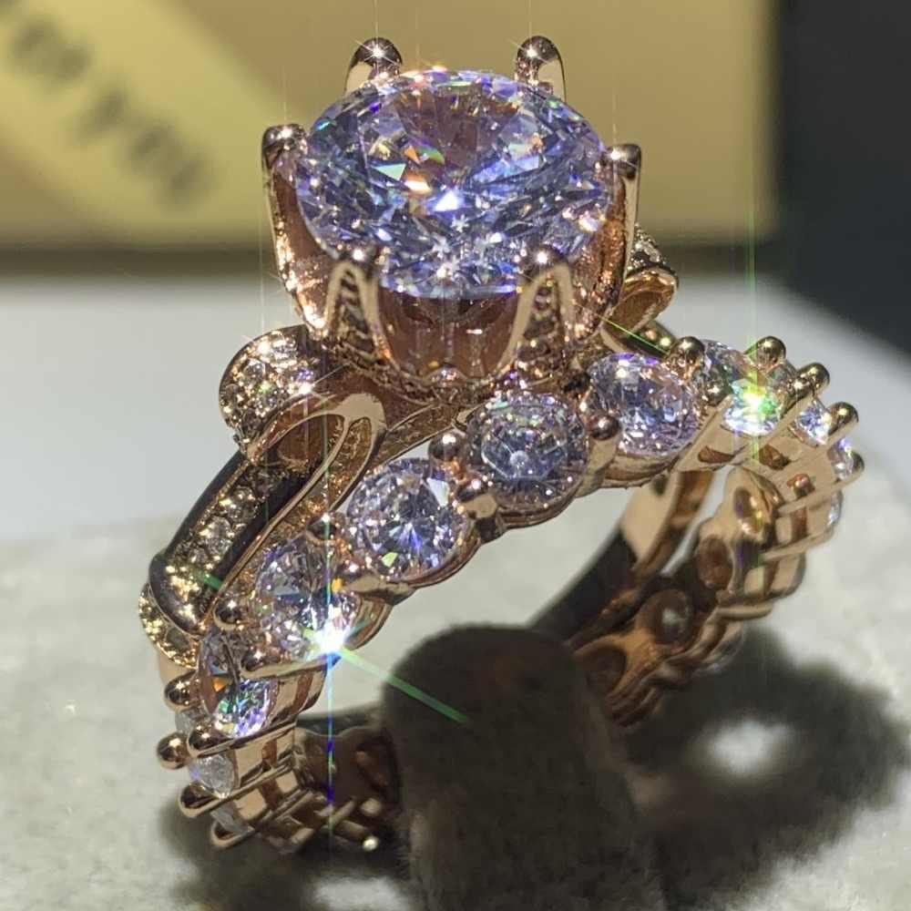 Drop Verschiffen Hochwertige Klassische Luxus Schmuck 925 Sterling Silber & Rose Gold Füllen Runde Cut 5A CZ Hochzeit Krone ring Set