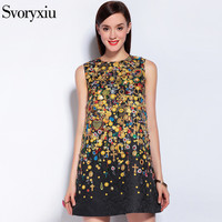 2017 Runway Designer Brand Dress Summer Women High Quality Sleeveless Baroque Print Party Mini Dresses