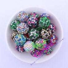Envío gratis 20 MM 100 unids/lote Color de la mezcla Rhinestone Chunky Rhinestone de la resina granos para el collar colorido de la joyería # CDBD-601553