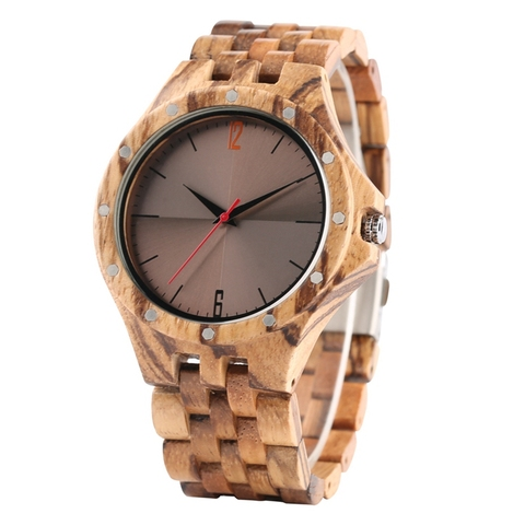 Retro Retro Wooden Watches Quartz Watches Men Unique Smooth Dial Silver Rivets Full Wood Wrist Watches Fashion Simple Man Clock Lahore