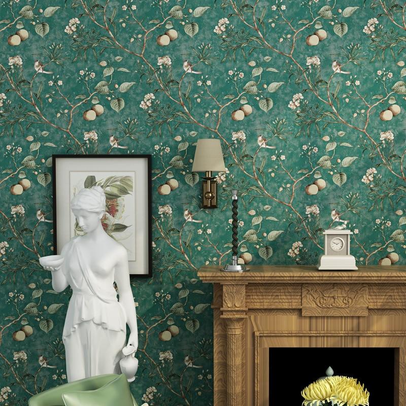 Купить с кэшбэком beibehangAmerican wallpaper vintage old apple tree flowers wallpaper bedroom living room background non-woven rural wallpaper