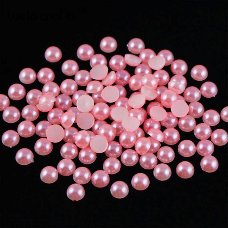 ขาย! 200 pcs/576 pcs 6mm หลายสีตัวเลือกครึ่งรอบไข่มุกอัญมณี Cabochons Flatback ลูกปัดสมุดภาพตกแต่ง DIY f0908