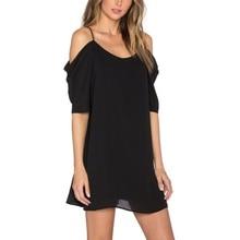 Robe femme verano off shoulder dress correa de espagueti ruffles manga ocasional de la gasa negro sexy dress vestidos de playa