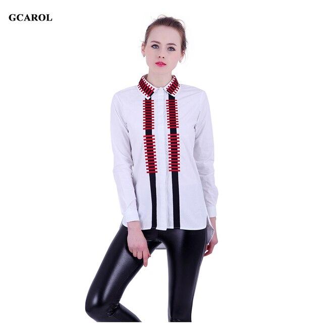 f2b98214292819 GCAROL 2017 Women New Arrival Embroidery Blouse Asymmetric Length Shirt  High Quality Fashion Vintage Tops For