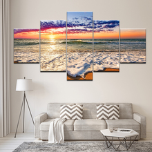 Canvas Painting sea with sunset sunrise seascape 5 Pieces Wall Art Modular Wallpapers Poster Print Home Decor