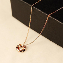 2017 New Dainty Rose Gold Necklaces Pendants Minimalist Simple Necklace For Woman Circle Crystal with Bar Long