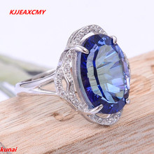 KJJEAXCMY fine jewelry Caibao jewellery 925 silver with tanzanite topaz ring.