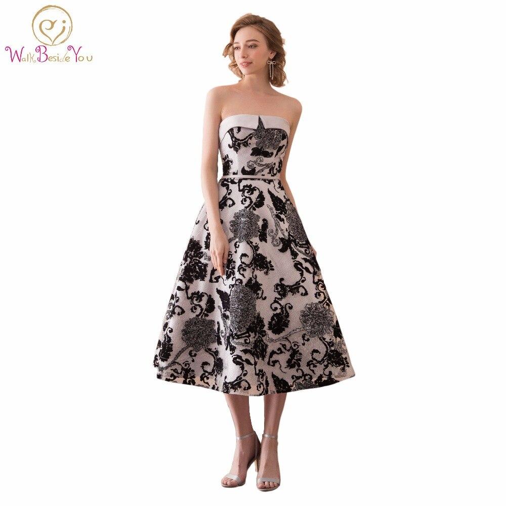 Walk Beside You Fashion Black Print Celebrity Dresses vestidos de graduacion cortos vestidos de formatura Tea length calendario