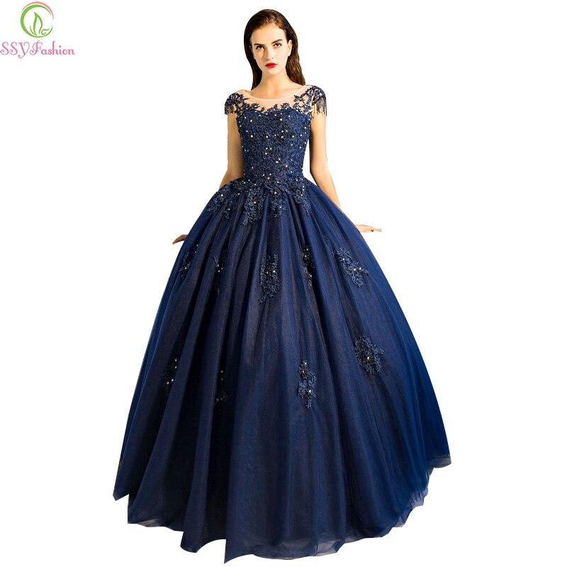 Robe de soire ssyfashion high grade luxury dark blue lace for Robe de soir