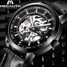 MEGALITH mode hommes montres Top marque de luxe squelette automatique montre hommes étanche bracelet en cuir mécanique montre-bracelet horloge