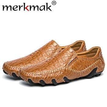 Merkmak wiosna jesień mężczyźni prawdziwej skóry mokasyny modne buty wsuwane męskie buty w stylu casual biznes rozrywka męskie mieszkania obuwie