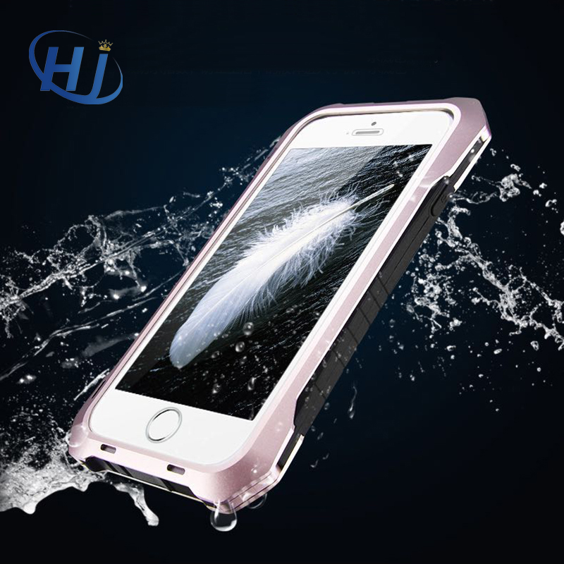 Цена за Водонепроницаемый противоударный чехол для телефона Алюминиевый бампер + закаленное стекло + силиконовый чехол для iPhone 5S/5/SE/6S/ 6/6 Plus/6S плюс Coque