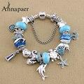 Vintage Jewelry blue Murano glass Charms Bracelets & Bangles for Women dolphin Beads Bracelet DIY Pulseras gift B17009