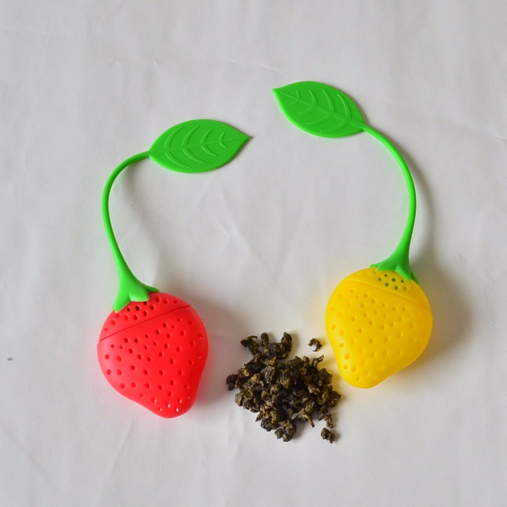 50pcs/lot silicone Tea Strainer with handle  ,Strawberry Silicone Tea Infuser Ceramic cup tea Filter coffee mugs Teabags plumyl