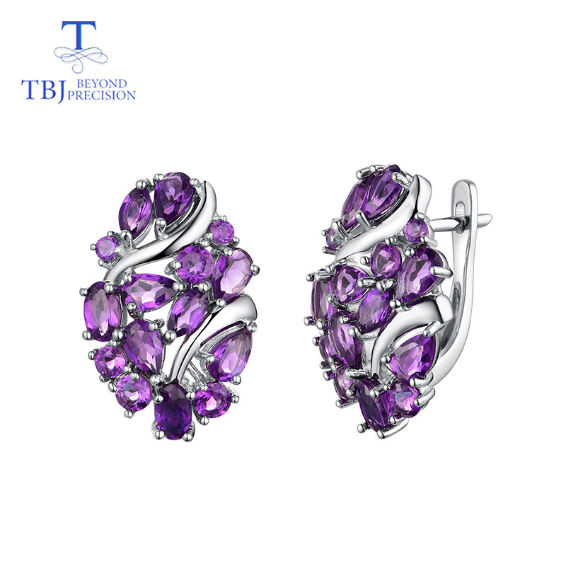 TBJ Natural Africa amethyst clasp earring 925 sterling silver fine jewelry for women wife luxury design