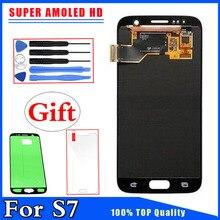 Hitam, Perak, emas untuk Samsung Galaksi S7 G930 G930F Super AMOLED Layar Sentuh Layar Sentuh LCD dengan Stiker Gratis
