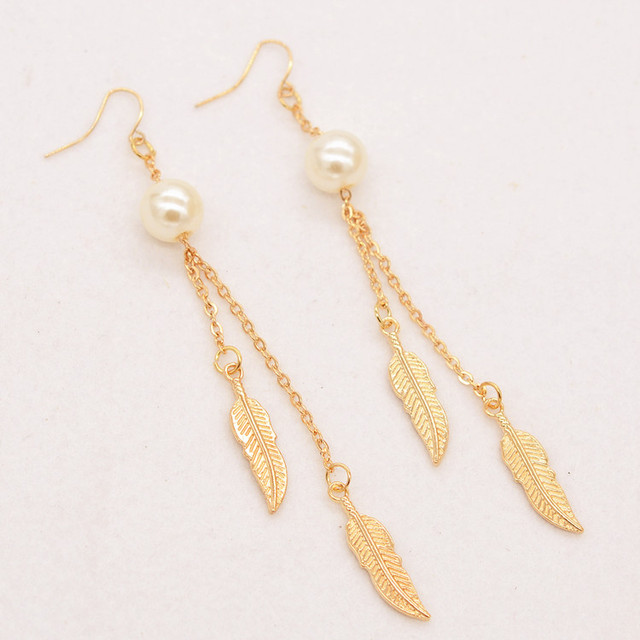 10 Pairs Whole Leaf Earring White Pearl Long Chain Drop Earrings Fashion Jewelry For S