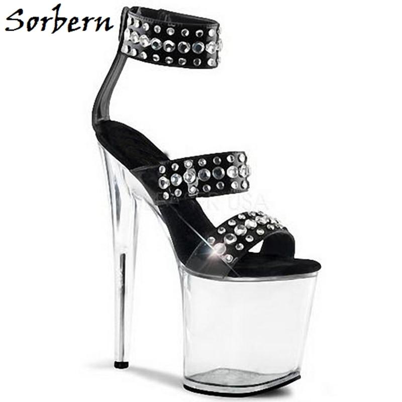 Strass Chaussures Personnalisée Sandales Avec Sorbern Marque D'été Couleur Haute Talons Pour Noir Dames Transparent Designer 20 Cm wIvROt