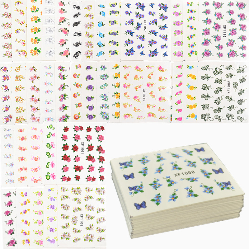60 Sheets Flowers Designs Water Transfer Nail Sticker, Watermark Nail Stickers Temporary Tattoos Manicure Beauty Tools 3d wild goose pattern temporary tattoos stickers