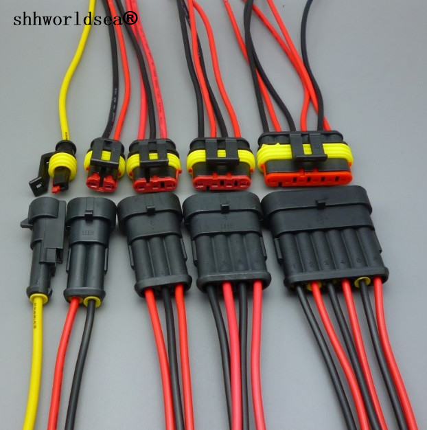 Shhworldsea 1.5 Kit 1/2/3/4/5/6 Pin Female Male Waterproof Electrical Wire Cable Automotive Connector Car Plug
