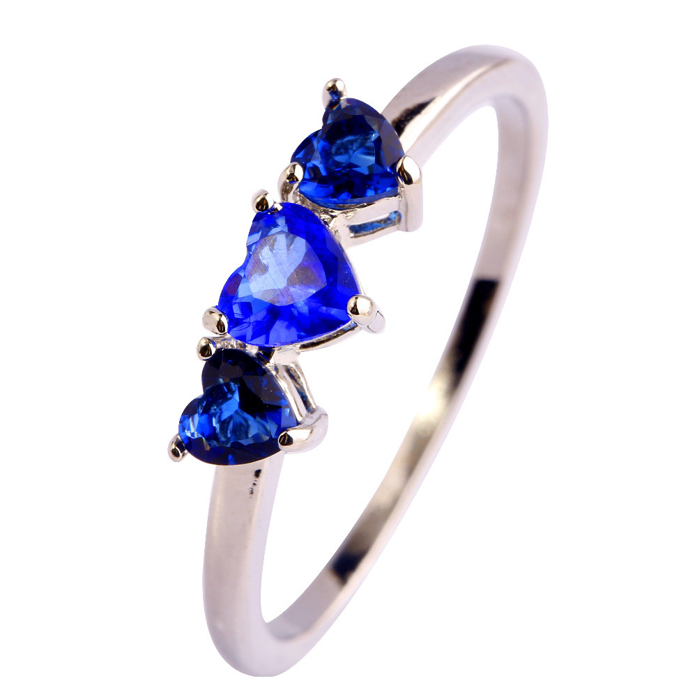 New Fashion Jewelry  Blue Sapphire Quartz  18K White Gold Plated Silver Ring Size 6 7 8 9 10 11 women Free Shipping Wholesale