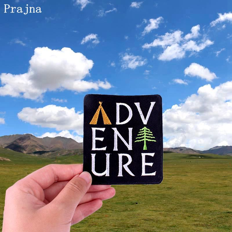 Prajna DIY Adventure Tent Pine Tree Explorer Patch Iron On Patches For Clothing Embroidered Camping Traveling Badges