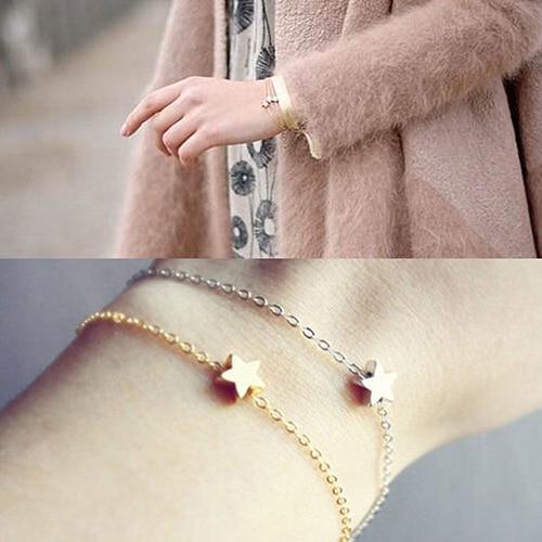 Hot Femmes Filles de Bijoux De Mode Cadeau Or Argent Plaqué Charme Chaîne Étoiles Bracelet 6Y7B 7GGE BDDS