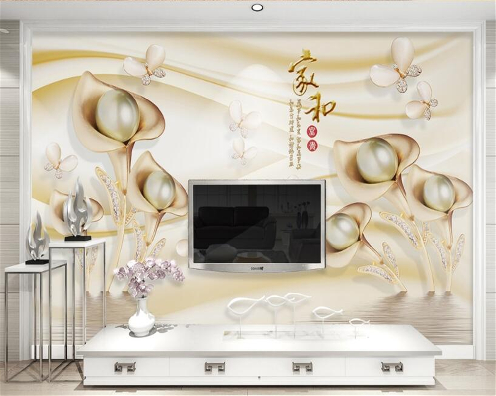 Beibehang Custom Wallpaper 3d Calla Leaf Butterfly Water Wave Reflection Wallpaper Sofa TV Wall Background wallpaper for wall 3d