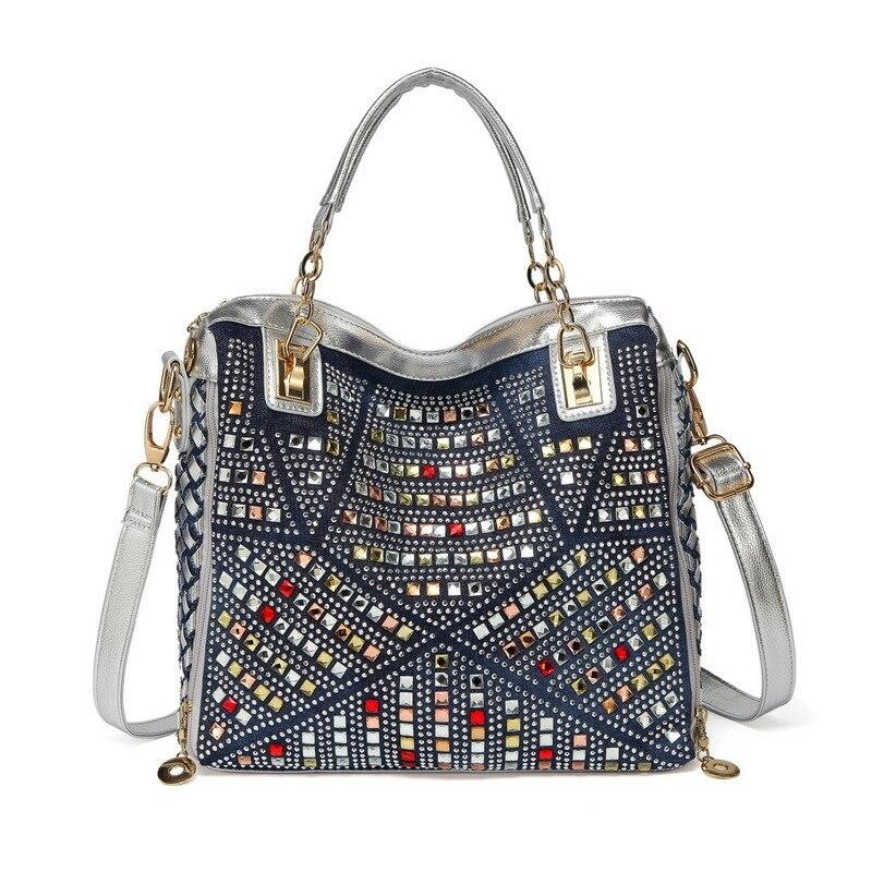 Luxury colourful diamond bag ladies denim bag for women s bags large handbag female shoulder crossbody