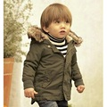 2017 Baby Boys Winter Jacket in Army Green Thick Removable Fur Hooded Warm Coats Kids Boys Padded Winter Warm Outwear with CS036