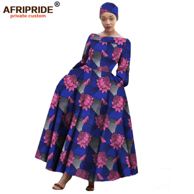 bbf26468cbabd 2018 AFRIPRIDE african maxi dress for women long-sleeves ankle-length party long  dress plus size with a small headscarf A722559