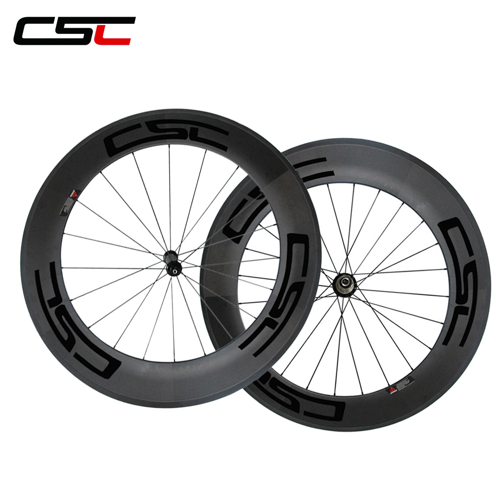 CSC U shape Hand made 25mm width clincher carbon bicycle wheels 88mm wheels with Powerway R36
