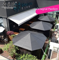 275 см высоком солярии с восьмиугольной крыши из поликарбоната/окна сетки Экран/15 кв. метров дворе уличный садовый павильон