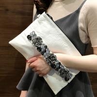 DOYUTIG Brand Women Envelope Evening Clutch Bags Antique Crystal Flower Wedding Bags Female Pu Leather Big Totes & Purse A231