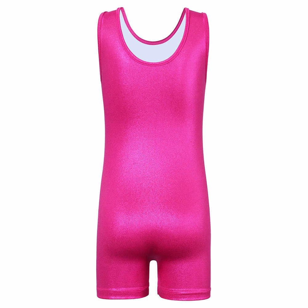 BAOHULU/блестящий костюм без рукавов в стиле пэчворк для гимнастики; слитный купальник для девочек; Детский костюм для гимнастики; цвет розовый, синий