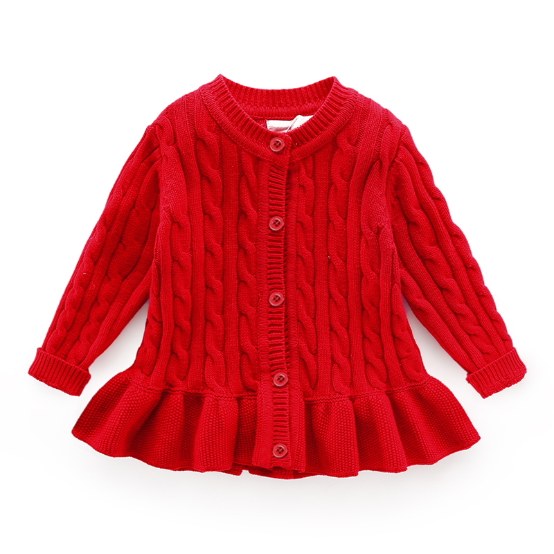 Baby Winter Cardigan Age For 1-8 Simple Thick Warm Kids Sweaters 2019 New Spring Baby Knitted Tops Cute Toddler Girl Red Sweater