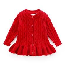 Baby winter strickjacke alter für 1 8 einfache dicke warme kinder pullover 2019 neue frühling baby gestrickte tops nette kleinkind mädchen roten pullover