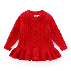Image 1 - Dziecko zima sweter wiek dla 1 8 proste grube ciepłe dzieci swetry 2019 nowa wiosna dziecko bluzki z dzianiny słodkie maluch dziewczyna czerwony sweter