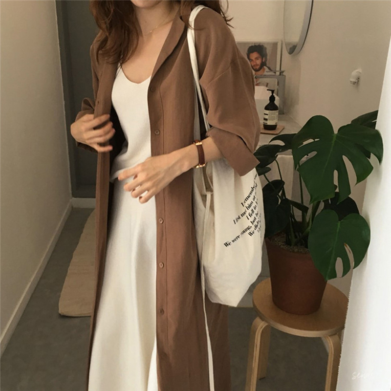 2019 Fasion Silm Loose Lapel Over The Knee Ladies Sunscreen Trench Coat Trench Coat For Women Clothing For Women