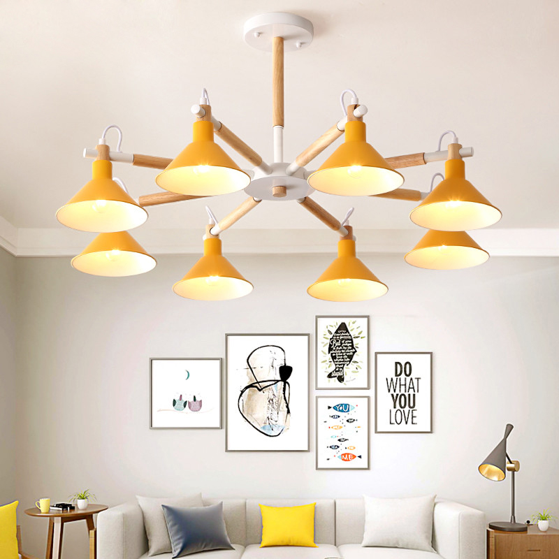 Solid Wood LED Chandeliers For Living Room Bedroom colors lampshade Nordic Style Surface Mount E27 Lamps Lighting Fixtures