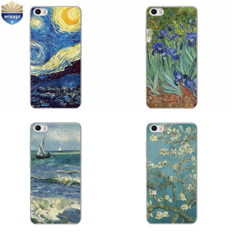 Phone Case For Xiaomi Mi 4 4i 4c 4s 5 Max Note 2 TPU Shell Hongmi Redmi 3 Pro Note 2 3 4 Back Cover Van Gogh Design Painted