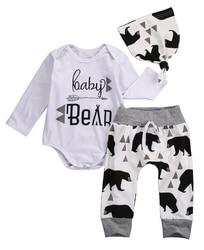 3pcs autumn spring newborn baby boys girls bear long sleeve letter tops romper bear pants hat.jpg 250x250
