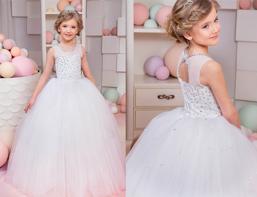 2017 White Flower Girl Dresses Lace Beaded Pearls Lace Up Sleeveless Birthday Pageant Gowns Vestidos Longo First Communion Dress new white and blue lace flower girl dresses birthday party pageant prom glitz frocks first communion ball gowns for juniors