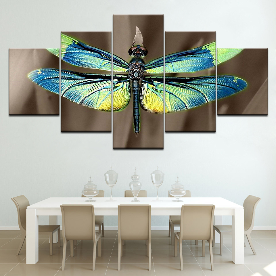 Colored dragonfly HD Wallpapers 5 Panels HD Print Wall Art modern Modular Poster art Canvas painting for Living Room Home Decor