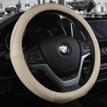 KKYSYELVA car steering wheel cover 38cm Black Genuine Leather Steering-wheel Auto Interior Accessories